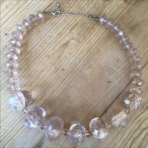 Vintage Champagne Faceted Lucite Beaded Necklace